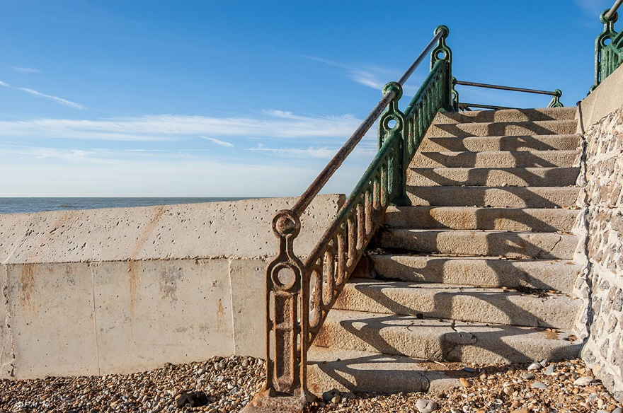 Stone Steps and railing in sunshine blue sky victorian promenade Hove Sussex  eyeteeth.net 2014
