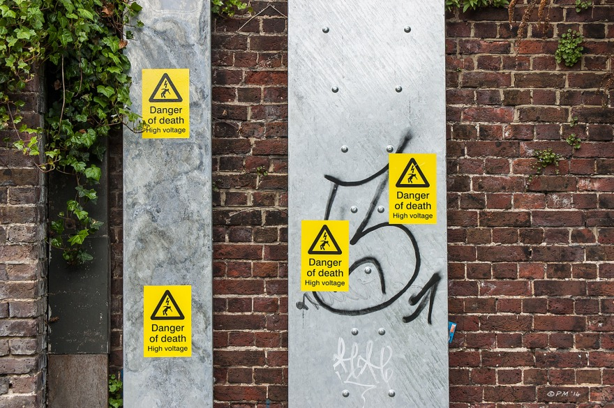 Danger of Death High Voltage Warning Signs Metal Ducting Victorian brick wall Old Shoreham Rd Brighton 22/4/14