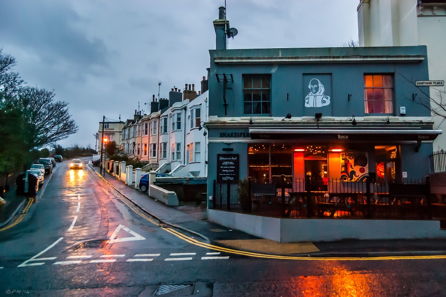 Shakesperes Head Pub Brighton rain dusk lights britain
