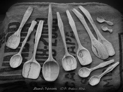 Hand made Spalted Beech Wood Spoons made by Peter Maton of whittleandstitch.net © P. Maton 2015