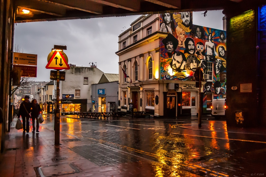 The Prince Albert Pub Brighton, view showing front and side with mural, john Peel, Jimi Hendrix, Kurt Cobain, Amy Winehouse, Banksy Kissing Police Men 23/12/13