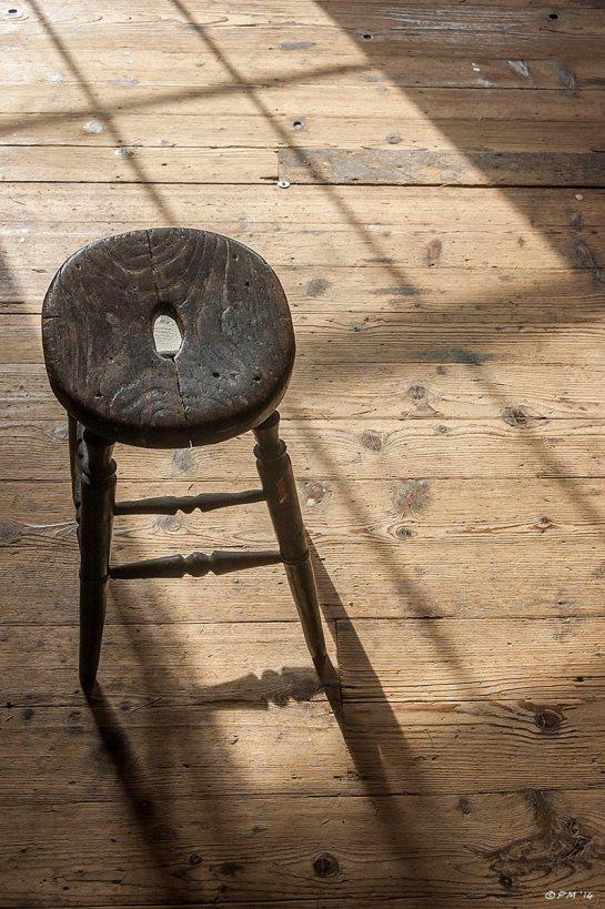 Wooden Stool in sunlight and shadow cast from Regency Town House window on wooden floor 2014 eyeteeth.net