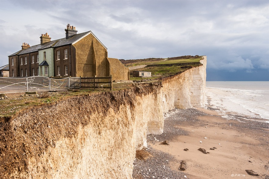 Houses and chalk cliffs at Birling Gap East Sussex looking East to Beachy Head Seven Sisters National Park 2014 eyeteeth.net