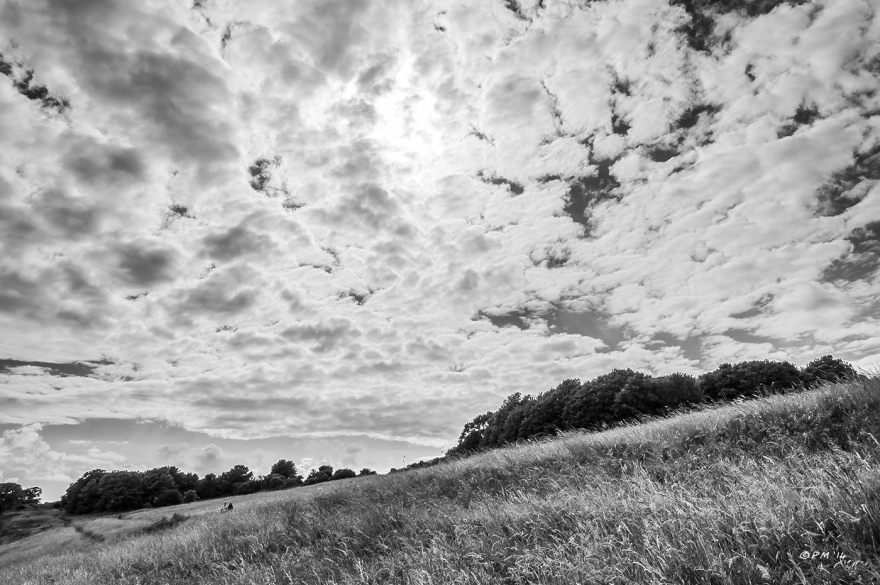 Monochrome clouds over Devils Dyke East Sussex with chalk downland grasses p.Maton 2014 eyeteeth.net
