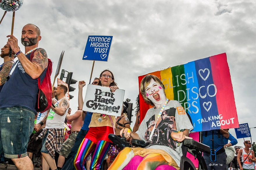 Young Man In Wheelchair at Gay Pride Brighton UK Terrence Higgins Trust UK P. Maton 2014