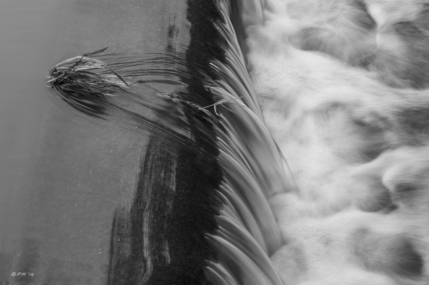 Clump of grass growing in flowing water at the edge of a weir, monochrome abstract, River Ouse Barkham Mills, East Sussex. P.Maton 2014 eyeteeth.net