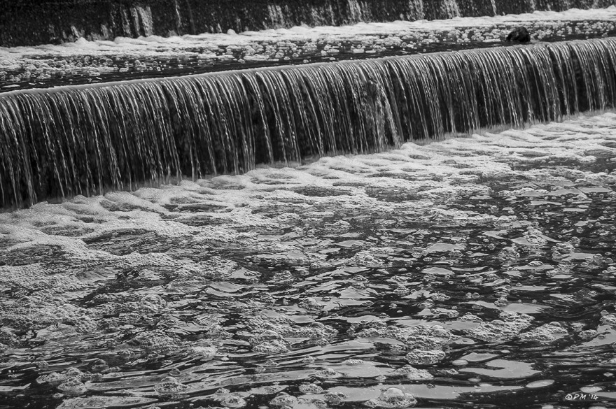 Water flowing over Weir with bubbles in foreground Barkham Mills East Sussex, Monochrome Landscape, P.Maton 27/08/2014 eyeteeth.net