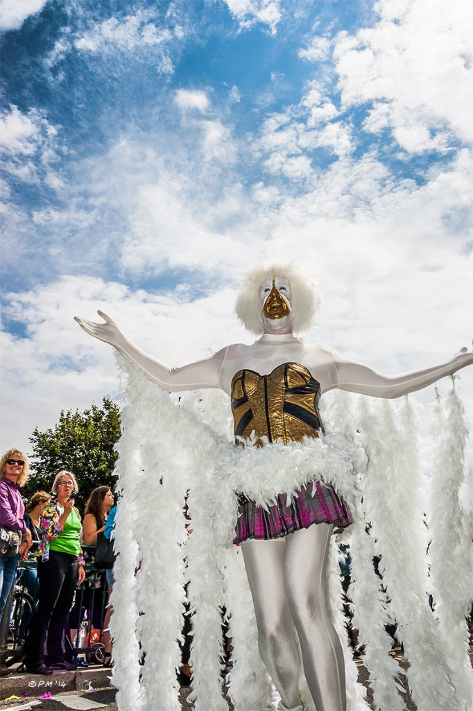 Man in costume with white feathers in parade at Gay Pride Brighton UK with onlookers in background P. Maton 2014