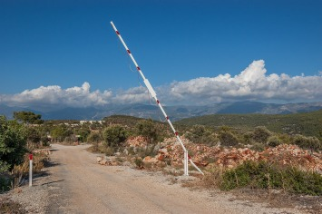 Raised Barrier over dirt road. Patara Turkey. Landscape Colour. P.Maton 2014 eyeteeth.net