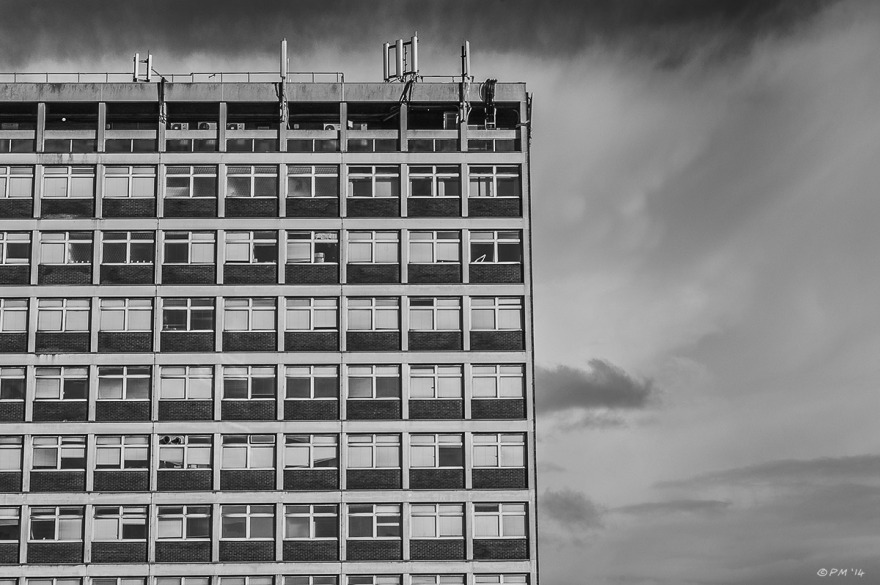 Block of flats against cloudy sky. Monochrome landscape abstract. Brighton UK. © P.Maton 2014 eyeteeth.net