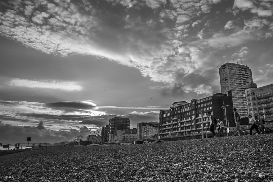 Sunset view West along Brighton Seafront Sussex © PMaton 2014 eyeteeth.net