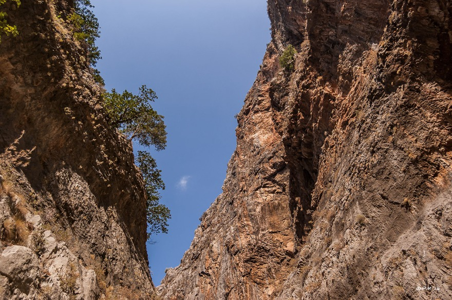 View along Saklikent Gorge with dramatic rock formations and trees clinging to cliff face. Fethiye Turkey. Colour landscape. P.Maton 06/09/2014 eyeteeth.net