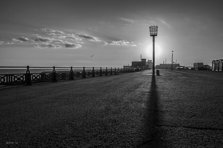 Crows Nest cage on pole silhouetted at sunset on Seafron at Hove Lagoon Sussex Landscape Monochrome, P.Maton 31/08/2014 eyeteeth.net