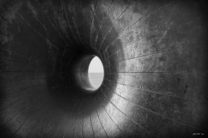 """""""Doughnut' sculpture 'Afloat' by Hamish Black with horizon visible through hole. Monochrome abstract. Brighton East Sussex UK. P.Maton 2014 eyeteeth.net"""