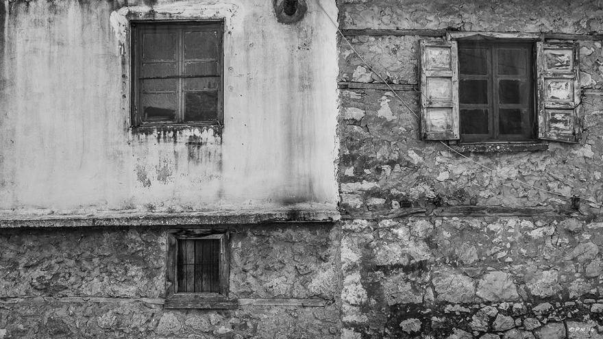 Old house wall with three different windows. Monochrome Landscape. Patara Village Turkey ©P.Maton 2014 eyeteeth.net