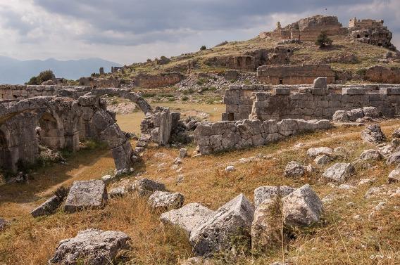 Market Hall and Acropolis Hill from East Side. Tlos Fethiye Turkey. Colour landscape. P.Maton 06/09/2014 eyeteeth.net