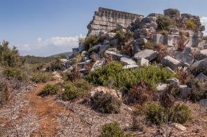 Pseudoperipteral Temple Tomb ruins Gelemis Turkey. Colour landscape. P.Maton 2014 eyeteeth.net
