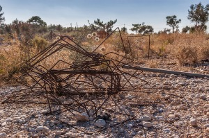 Abandoned Steel rebar tangle beside dirt road. Patara Turkey. Landscape Colour. P.Maton 2014 eyeteeth.net