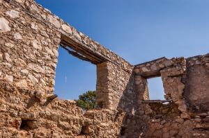 Abandoned stone house interior with view of sky through window. Colour Landscape. Patara, Turkey. P.Maton 2014 eyeteeth.net