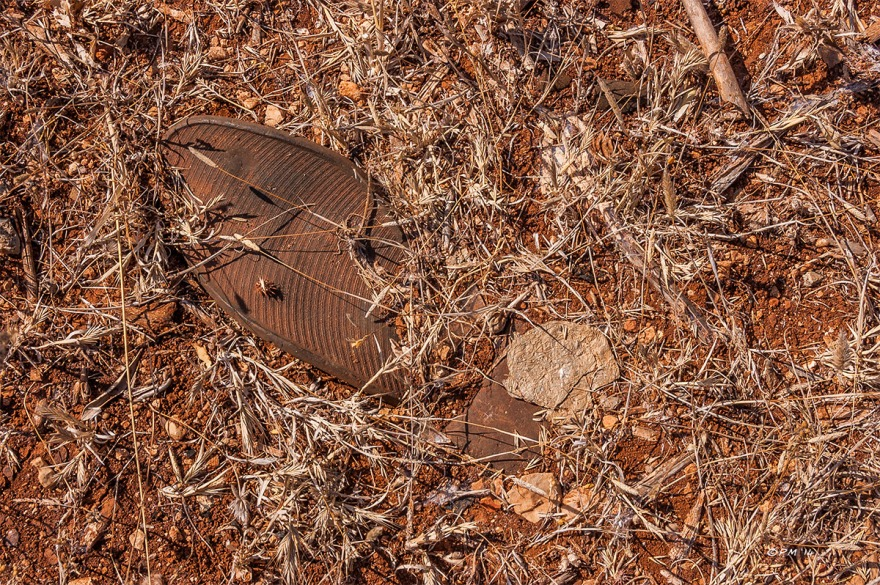 Discarded shoe sole in red soil with dead grasses. Patara Gelemis Turkey. P.Maton 2014 eyeteeth.net