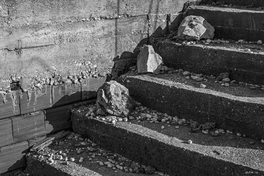 Concrete steps with three rocks ascending  monochrome abstract Patara Turkey P.Maton 04/09_2014 eyeteeth.net