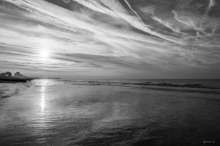 Sunrise over seafront Hove with dramatic clouds and foreground. Monochrome Landscape. © P.Maton 2014 eyeteeth.net