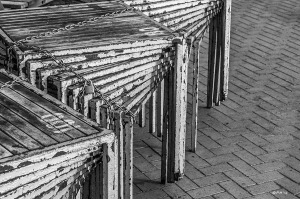 Stacked tables on Brighton Seafront. Monochrome abstract. Brighton East Sussex UK. P.Maton 2014 eyeteeth.net