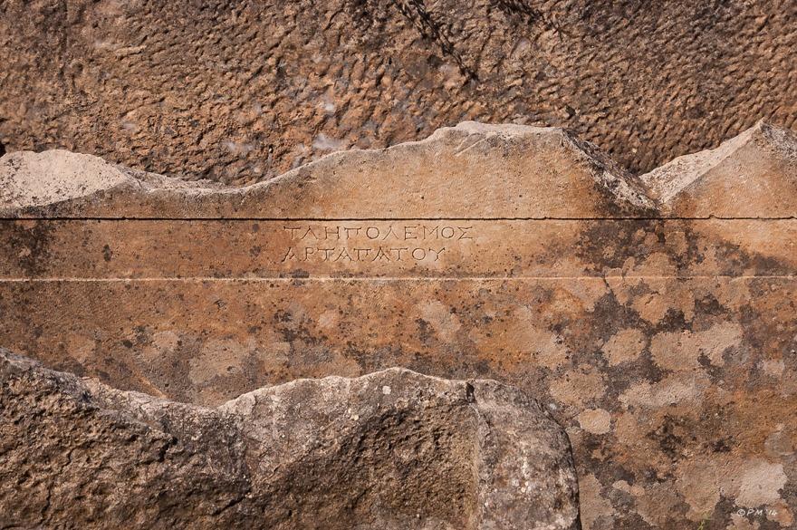 Tepecik Necropolis text carved in stone, Gelemiş, Patara, Turkey. Colour detail. P.Maton 05/09/2014 eyeteeth.net