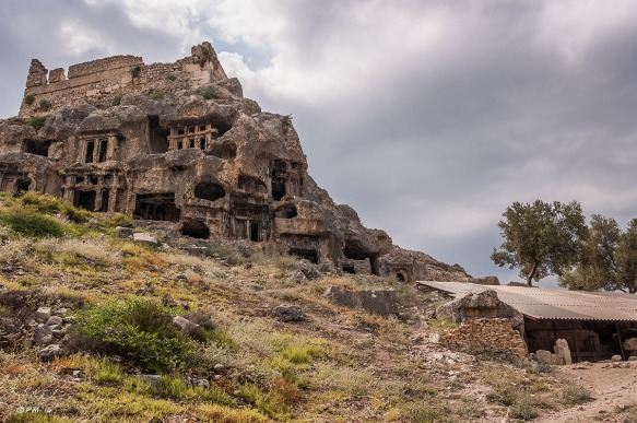 Tombs on Acropolis Hill from North Side. Tlos Fethiye Turkey. Colour landscape. P.Maton 06/09/2014 eyeteeth.net