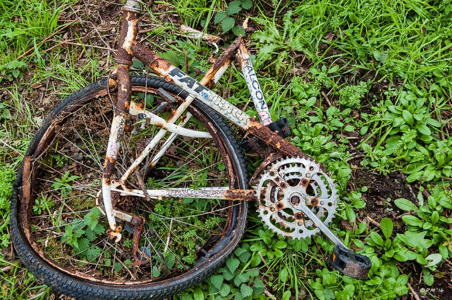 Rusty broken Falcon mountain bike lying on leafy ground, Devils Dyke East Sussex. Colour Landscape abstract. © P.Maton 2014 eyeteeth.net