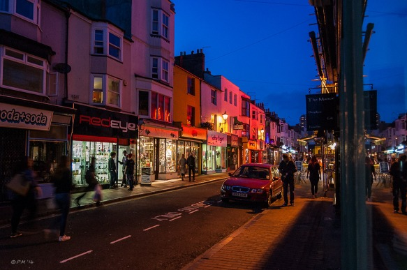 Colourful Night time view North along Gardner Street Brighton UK. Colour Landscape. © P.Maton 2014 eyeteeth.net