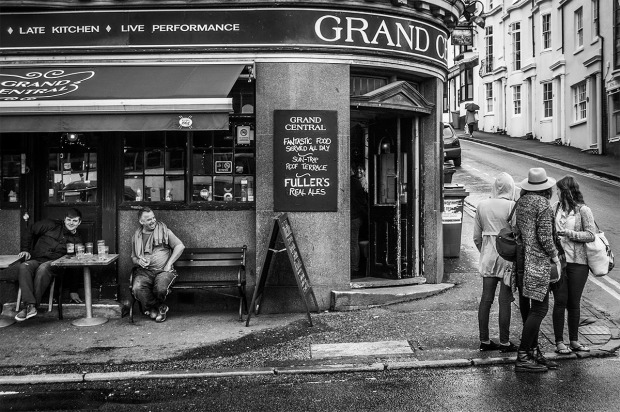 Two laughing men sitting outside Grand Central Pub Brighton. Monochrome Landscape. © P.Maton 2014 eyeteeth.net