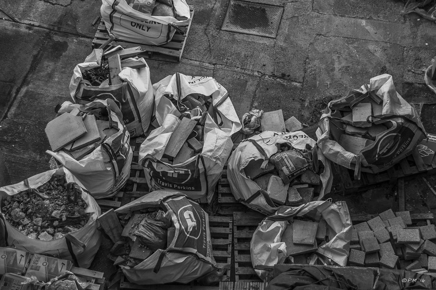 Sacks of building ease seen from above. Monochrom Landscape. © P.Maton 2014  eyeteeth.net