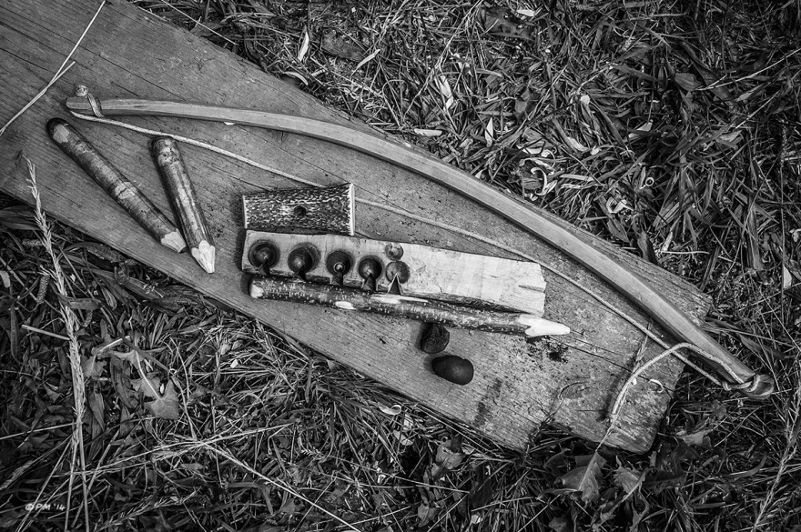 Bow drill firefighting kit, Cedar bow, Hazel spindles, Ivy Baseboard, Antler bearing Block, Cramp Ball Fungus. Bushcraft. Monochrome Landscape. © P. Maton 2014 eyeteeth.net