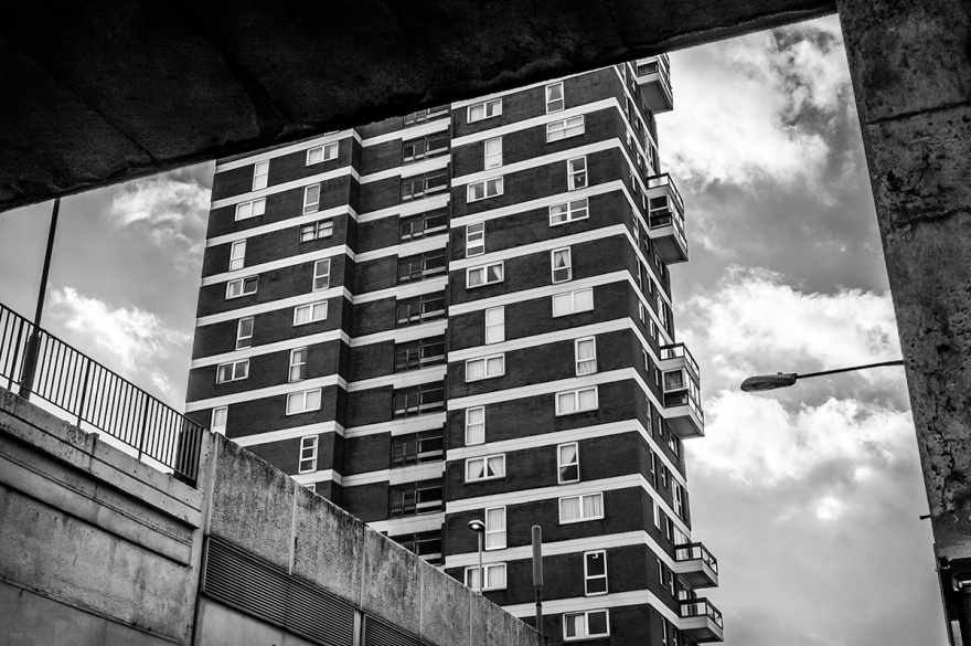 Chartwell Court tower blocks from below overpass on Cannon Place Brighton Sussex UK. Black and white urban photograph. © P. Maton 2014 eyeteeth.net