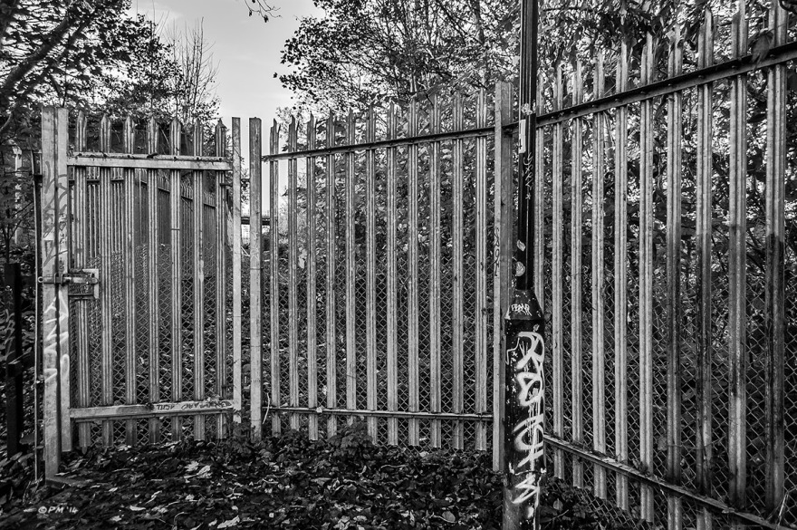 Galvanised metal fencing at parameter of Railway property with graffiti on lamp post and trees in background. Monochrome Landscape. © P. Maton 2014 eyeteeth.net