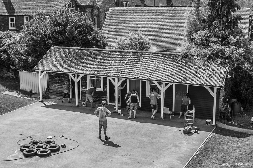 Building being painted by staff in Lewes YMCA yard, East Sussex. Monochrome Landscape. © P. Maton 2014 eyeteeth.net