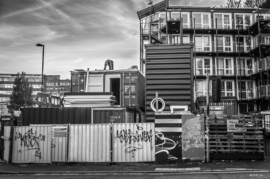 Shipping Container Homes, Brighton Housing Trust, New England Road Brighton UK. Monochrome Landscape. © P. Maton 2014 eyeteeth.net