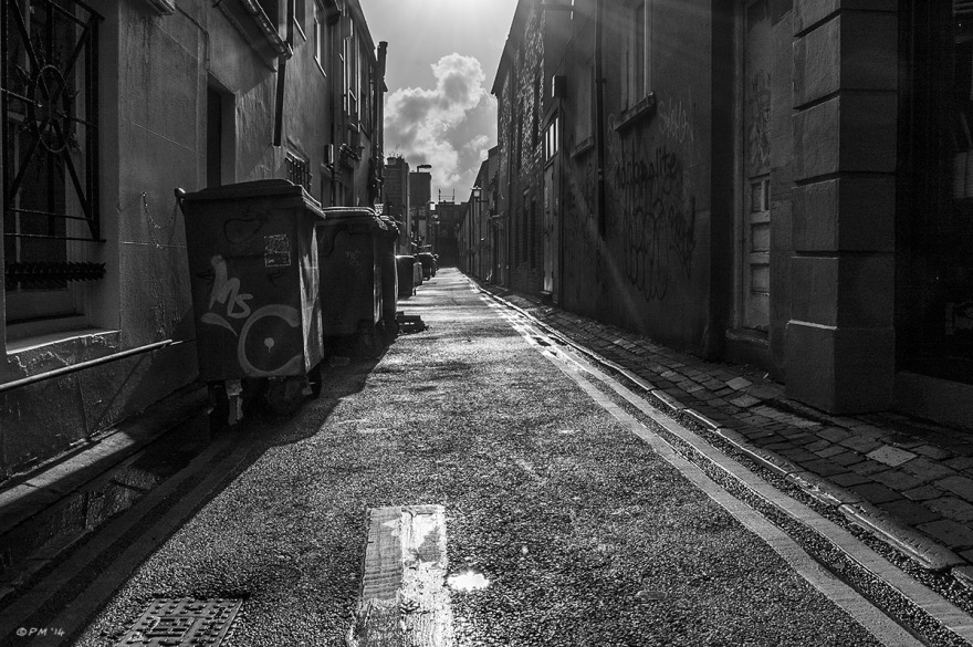 View South along Trafalgar Lane  in sunshine after rain. Brighton UK. © P. Maton 2014 eyeteeth.net