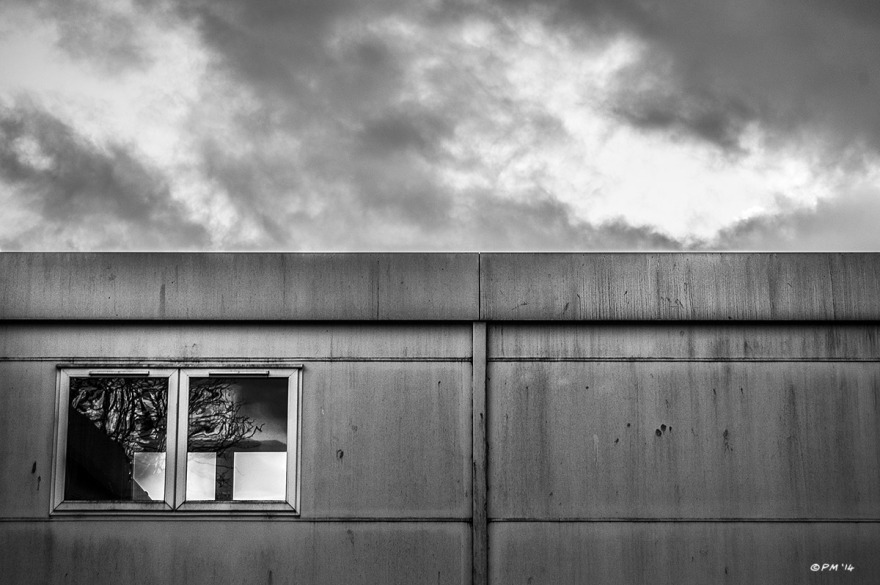 Side of BHASVIC college outbuilding with window and cloudy sky, Brighton UK. Abstract Monochrome Landscape. © P. Maton 2014 eyeteeth.net