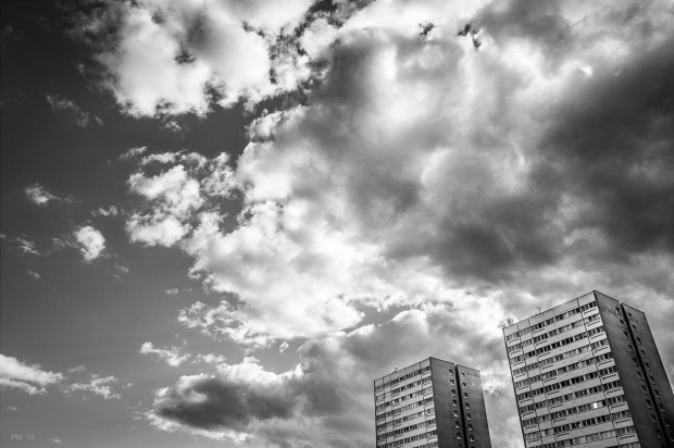 Two tower blocks with vast cloudy sky Nettleton Court and Dudney Lodge seen from Upper Hollingdean Road, Brighton UK. Monochrome Landscape. © P. Maton 2014 eyeteeth.net