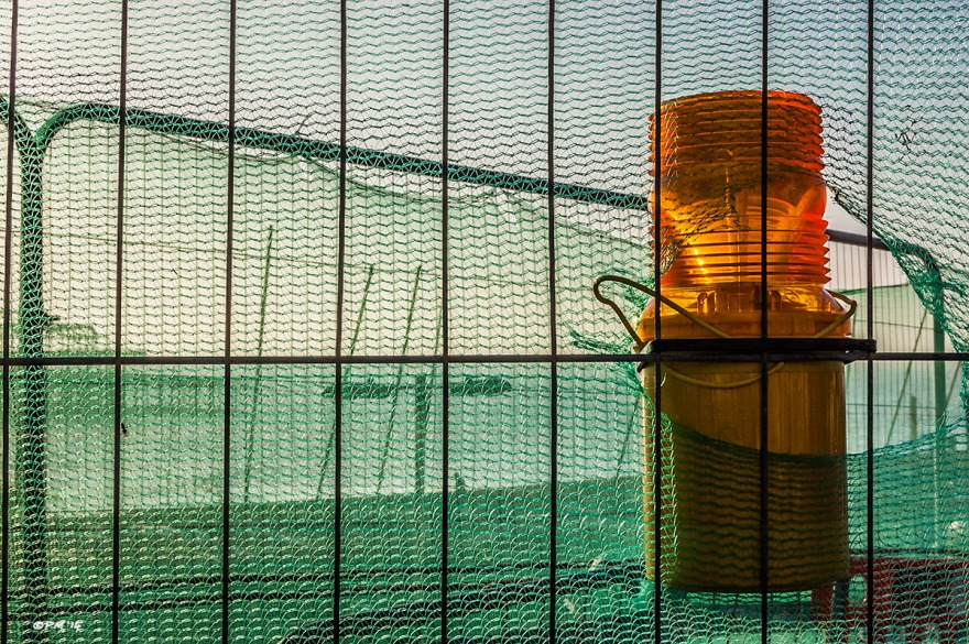 Orange signal lamp attatched to wire fence with green netting , sea and West Pier in background. Brighton UK. Abstract Colour Landscape. © P. Maton 2014 eyeteeth.net