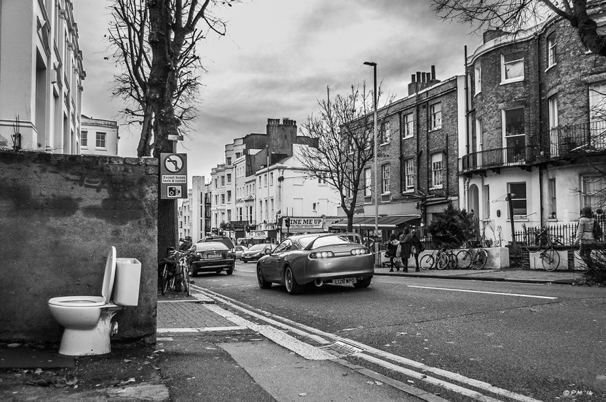 Abandoned toilet on pavement beside road, Montpelier Road Brighton UK. Monochrome Landscape. © P. Maton 2014 eyeteeth.net