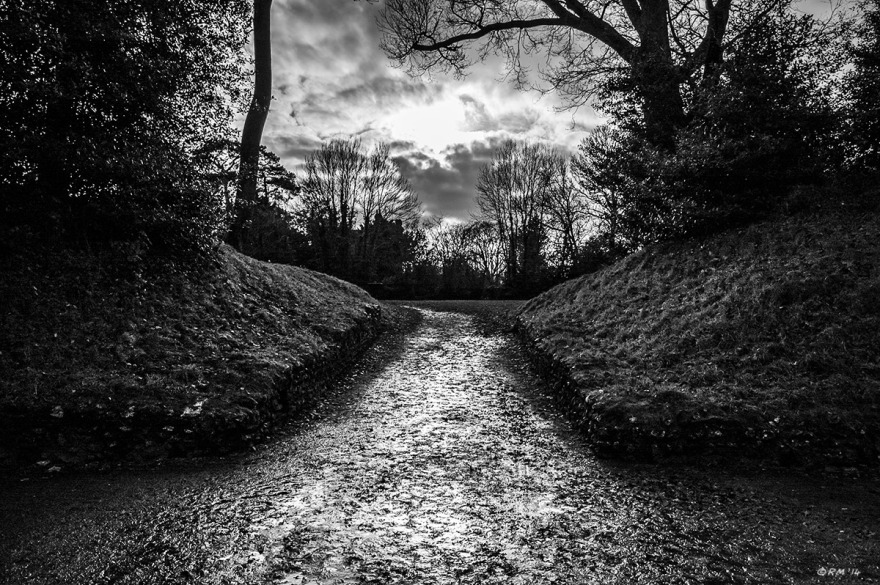 Wet muddy path lit by sun breaking through clouds surrounded by silhouetted trees. Roman Amphitheatre Silchester UK. Monochrome Landscape. © P. Maton 2014 eyeteeth.net