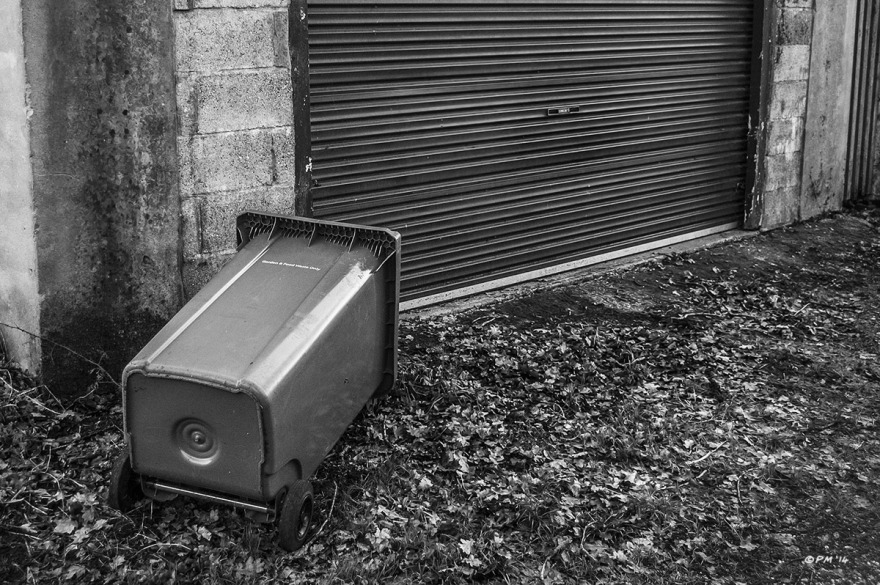 Refuse bin / dumpster lying on side next to garage door with dead leaves on ground. Mortimer Berkshire. Monochrome Landscape. © P. Maton 2014 eyeteeth.net