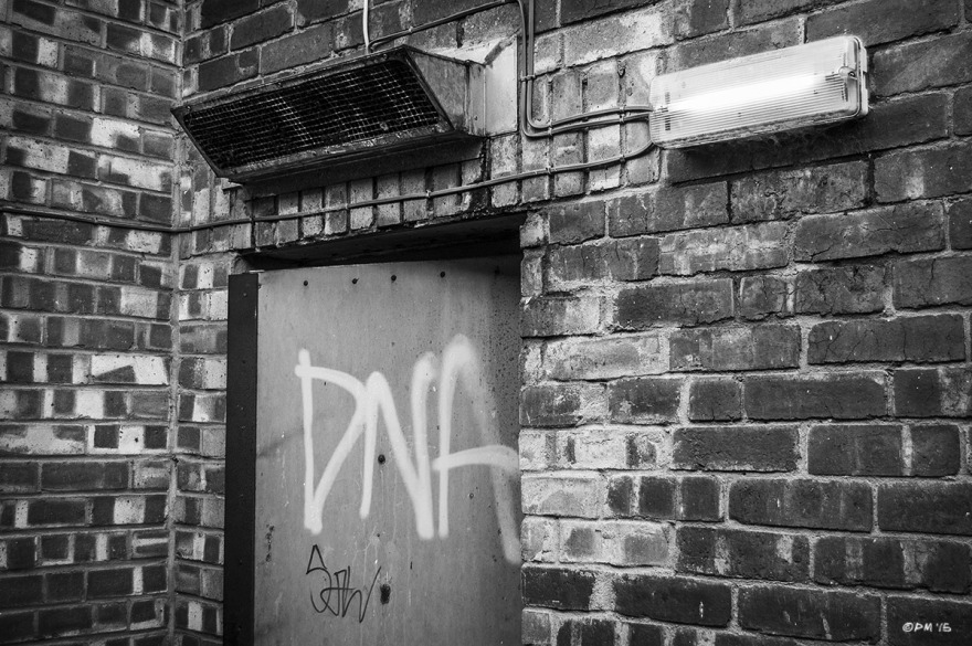 DNA graffiti on metal door in brick wall with extractor grille and wall mounted light. Marion Road Hove UK. Monochrome Landscape. © P. Maton 2015 eyeteeth.net