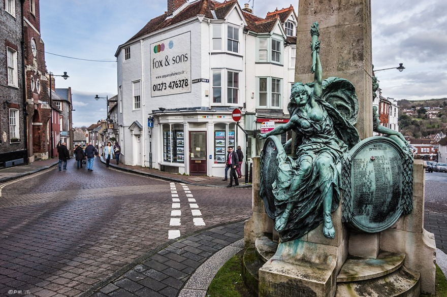 Lewes War Memorial Statue in town centre with flag stone road. Lewes East Sussex UK. Colour Landscape.  P. Maton 2015 eyeteeth.net