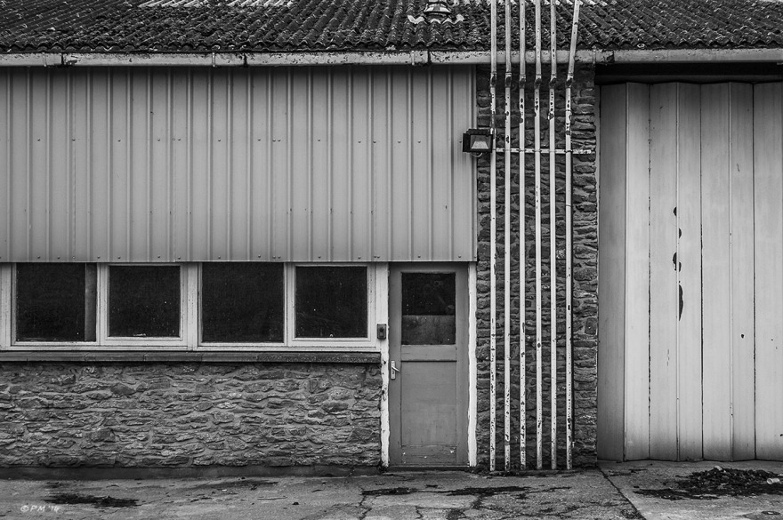 Front an forecourt of village garage, Marcham UK. Monochrome Landscape. © P. Maton 2014 eyeteeth.net