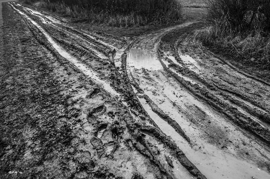 Muddy farm tracks forking, wheel ruts and footprints. Marcham UK. Monochrome Landscape. © P. Maton 2014 eyeteeth.net
