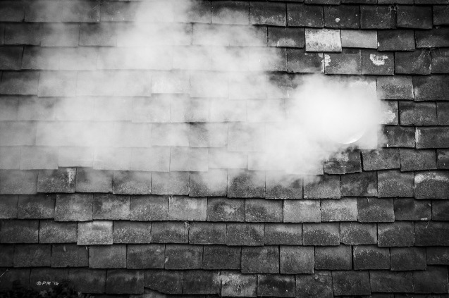 Steaming extractor vent in tiled cottage wall. Mortimer Berkshire UK. Monochrome Landscape. © P. Maton 2014 eyeteeth.net
